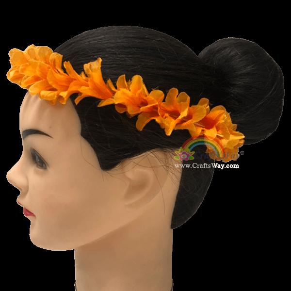 HK029 Elastic Pua Kenikeni Headband Elastic Silk Pua Kenikeni Headband, Flower Headband, One size fits all, Materials: Silk Pua Kenikeni and elastic cord