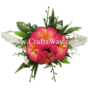 PM-301-B Wedding & Special Event, Wrist Corsage - Plumeria (Pink/Yellow)
