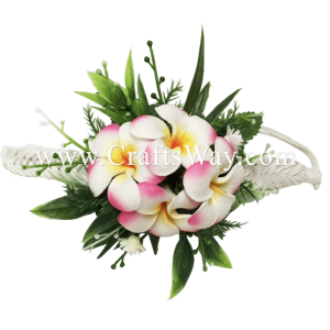 PM-301-C Wedding & Special Event, Wrist Corsage - Plumeria (White Pink)