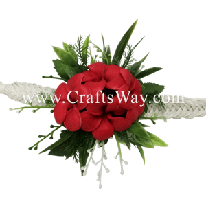 PM-301-D Wedding & Special Event, Wrist Corsage - Plumeria (Red)