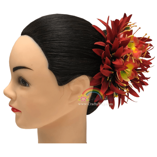 CML-045 Custom Made Flower Hairpiece, Foam Orchid & Silk Spider Lily Hair Clip, Hairpiece Made in Hawaii, Hair Accessories for Hawaiian Wedding Items, Hula Dancer