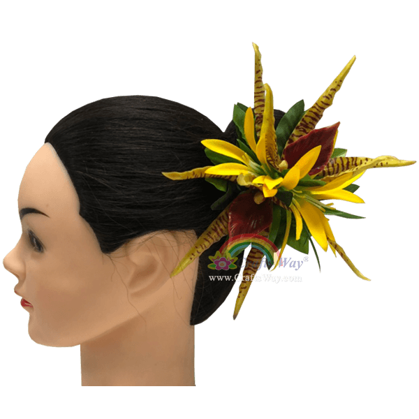 CMM-102 Silk Spider Lily & Latex Orchid Hair Clip Sample, Hairpiece Made in Hawaii