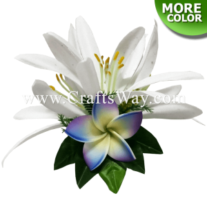 CMS-067 Foam Plumeria & Silk Spider Lily Hair Clip, Hairpiece Made in Hawaii, Hair Accessories for Hawaiian Wedding Items, Hula Dancer