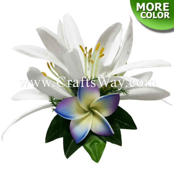 CMS-067 Foam Plumeria & Silk Spider Lily Hair Clip, Hairpiece Made in Hawaii, Hair Accessories for Hawaiian Wedding Items, Hula Dancer