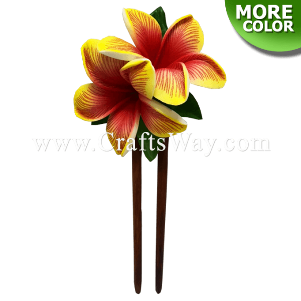 WD2F-104 2 Plumeria (UA) Hair Stick, Custom Made Flower Hair Stick , Foam Plumeria with two prongs wooden stick