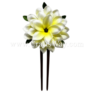 WD2F-601 Foam Plumeria (AI) Hair Stick, Custom Made Flower Hair Stick , Foam Plumeria with two prongs wooden stick