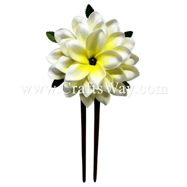 WD2F-601 Plumeria (AI) Hair Stick, Custom Made Flower Hair Stick , Foam Plumeria with two prongs wooden stick