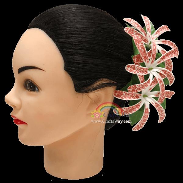 CMM-103 Custom Made Flower Hairpiece, Foam Tiare (BO Tribal) Hair Clip, Hairpiece Made in Hawaii, Hair Accessories for Hawaiian Wedding Items, Hula Dancer