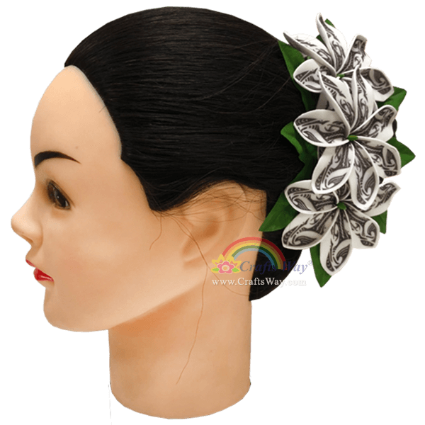 CMM-104 Custom Made Flower Hairpiece, Foam Tiare (BE Tribal) Hair Clip, Hairpiece Made in Hawaii, Hair Accessories for Hawaiian Wedding Items, Hula Dancer