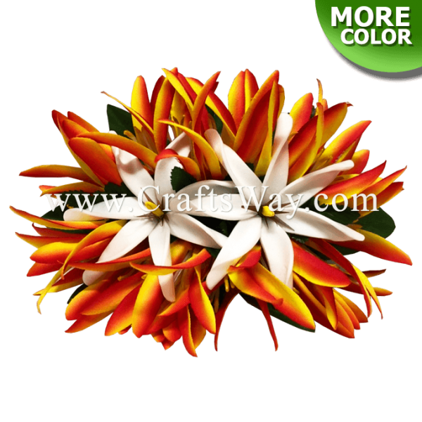 CMM-105 Silk Spider Lily & Foam Tiare (V) Hair Clip, Custom Made Flower Hairpiece, Hairpiece Made in Hawaii, Hair Accessories for Hawaiian Wedding Items, Hula Dancer