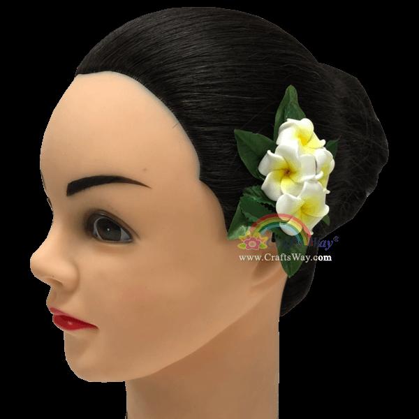 CMS-068 Foam Plumeria (A) Hair Clip, Custom Made Flower Hairpiece, Hawaiian Hair Clip
