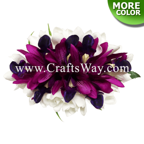 CMM-106 Silk Tuberose & Orchid (D) Hair Clip, Custom Made Flower Hairpiece, Hairpiece Made in Hawaii, Hair Accessories for Hawaiian Wedding Items, Hula Dancer