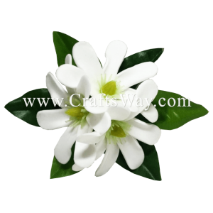 CMS-069 Custom Made Flower Hairpiece, White Foam Tiare (A) Hair Clip, Approximately 1¾ inches, Hairpiece Made in Hawaii, Hair Accessories for Hawaiian Wedding Items, Hula Dancer