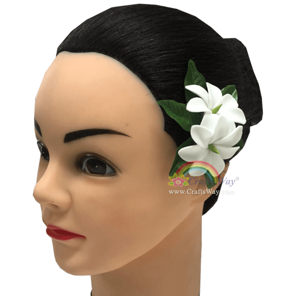 CMS-071 Custom Made Flower Hairpiece, Foam Tiare (Type OO) Hair Clip, Approximately 1½ inches, Hairpiece Made in Hawaii, Hair Accessories for Hawaiian Wedding Items, Hula Dancer
