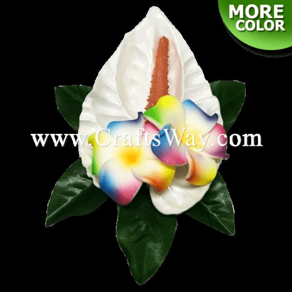 CMS-073 Custom Made Flower Hairpiece, Foam Anthurium & Plumeria (A), Hairpiece Made in Hawaii, Hair Accessories for Hawaiian Wedding Items, Hula Dancer