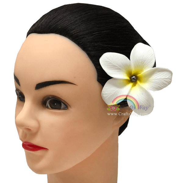 FSH192-Pearl Artificial Foam Flowers, Plumeria Type NO with Pearl, size 3 inches