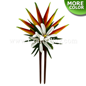 HO-302 Custom Made Flower Hair Stick, Heliconia & Tiare Hair Stick, Made in Hawaii, Hair Accessories for Hawaiian Wedding Items, Hula Dancer