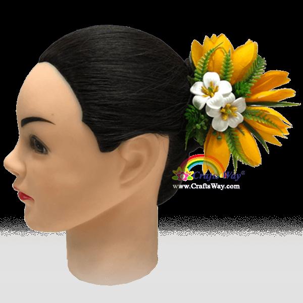 CMM-107 Silk White Champaka & Foam Pua Kenikeni Hair Clip, Custom Made Flower Hairpiece, Hairpiece Made in Hawaii, Hair Accessories for Hawaiian Wedding Items, Hula Dancer