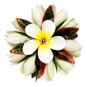 CMS-074 Silk White Champaka & Foam Plumeria (HU) Hair Clip, Custom Made Flower Hairpiece, Hairpiece Made in Hawaii, Hair Accessories for Hawaiian Wedding Items, Hula Dancer