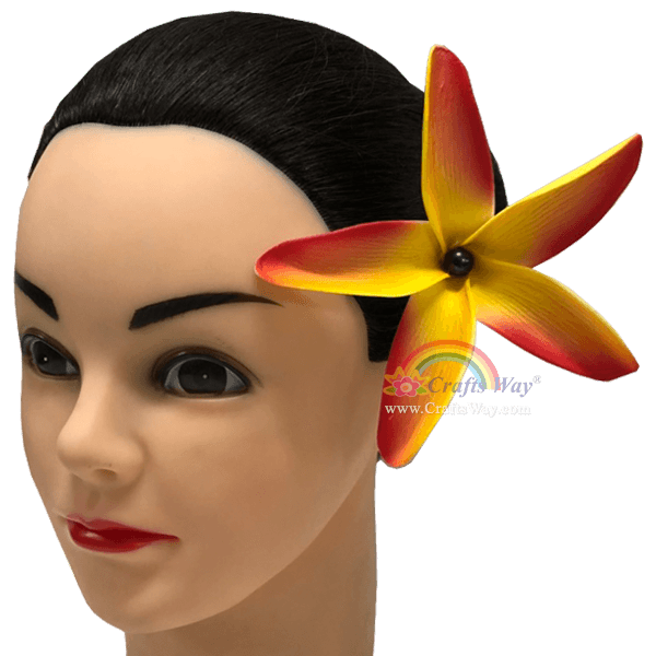 FSH185-Pearl Artificial Foam Flowers, Plumeria Type KE with Pearl, size 4.5 inches