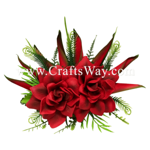 CML-047 Foam Gardenia (H) & Silk Heliconia Hair Clip, Custom Made Flower Hairpiece, Hairpiece Made in Hawaii, Hair Accessories for Hawaiian Wedding Items, Hula Dancer
