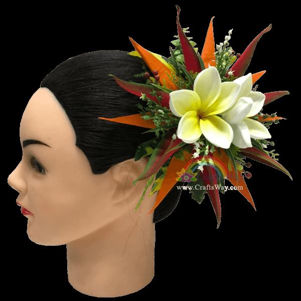 CML-048 Foam Plumeria (N), Silk Bird of Paradise & Silk Heliconia Hair Clip, Custom Made Flower Hairpiece, Hairpiece Made in Hawaii, Hair Accessories for Hawaiian Wedding Items, Hula Dancer