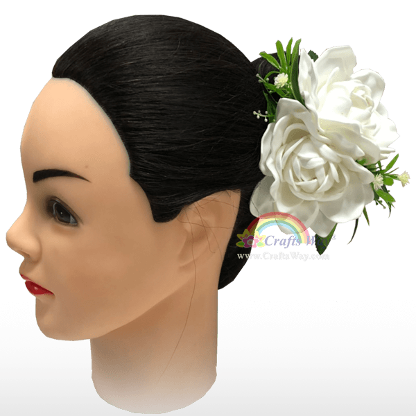 CMM-108 Foam Gardenia (A) Hair Clip, Custom Made Flower Hairpiece, Hairpiece Made in Hawaii, Hair Accessories for Hawaiian Wedding Items, Hula Dancer
