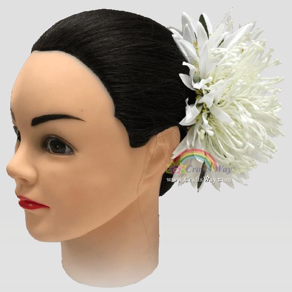 CMM-109 Plastic Protea & Silk Spider Lily Hair Clip, Custom Made Flower Hairpiece, Hairpiece Made in Hawaii, Hair Accessories for Hawaiian Wedding Items, Hula Dancer