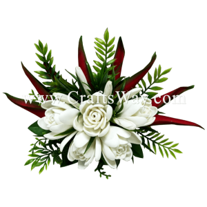 CMXL-009 Foam Tuberose & Silk Heliconia Hair Clip, Custom Made Flower Hairpiece, Hairpiece Made in Hawaii, Hair Accessories for Hawaiian Wedding Items, Hula Dancer