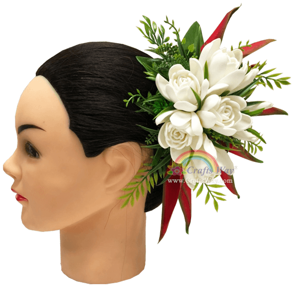 CMXL-009 Foam Tuberose & Silk Heliconia Hair Clip, Custom Made Flower Hairpiece, Hairpiece Made in Hawaii, Hair Accessories for Hawaiian Wedding Items, Hula Dancer