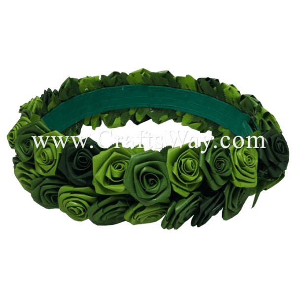 HK030 Silk Ti Leaf Roses Headband, Flower Haku Headband