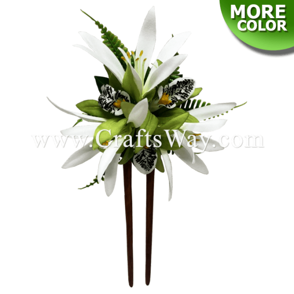 WD2F-701 Custom Made Flower Hair Stick, Orchid (D) & Spider Lily Stick, Made in Hawaii, Hair Accessories for Hawaiian Wedding Items, Hula Dancer